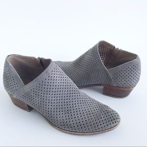 Lucky Brand Fabiana Perforated Gray Suede Bootie